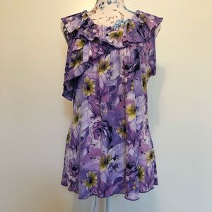 Carole Little purple floral sleeveless top size xL